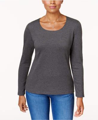 Karen Scott Cotton Scoop-Neck Top, Created for Macy's