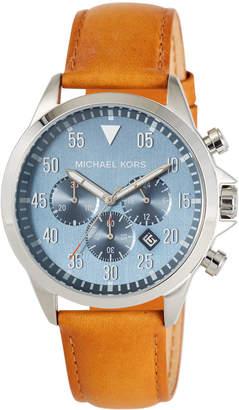 MICHAEL Michael Kors 45mm Gage Leather Chronograph Watch, Blue