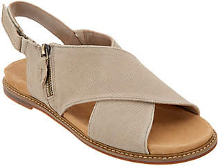 Clarks Artisan Leather Cross Band Sandals -Corsio Calm