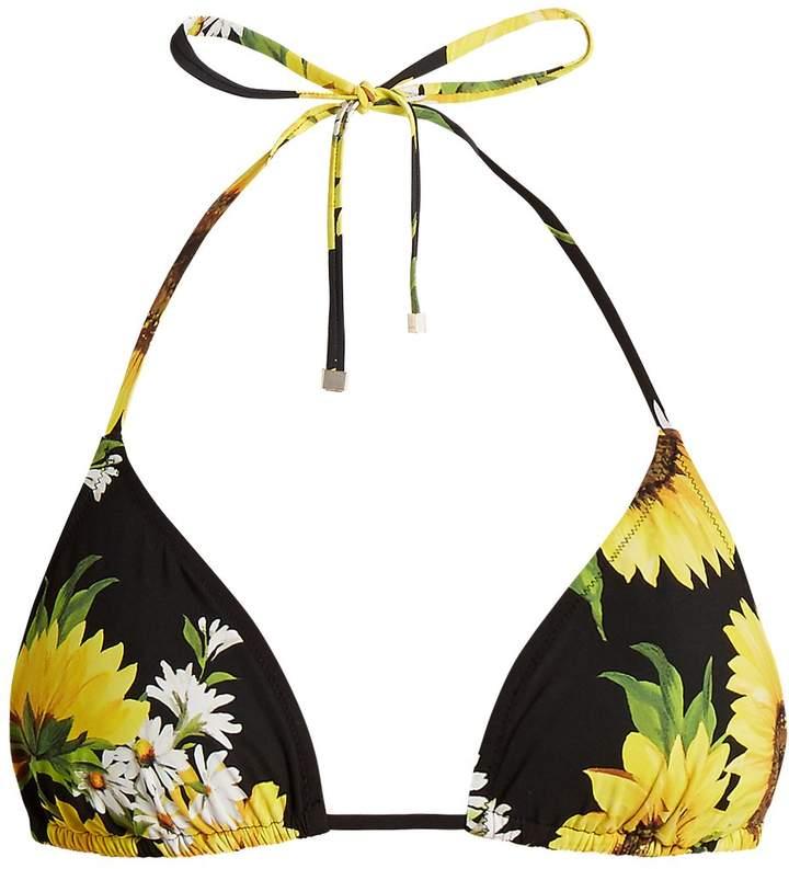 DOLCE & GABBANA Sunflower-print triangle bikini top