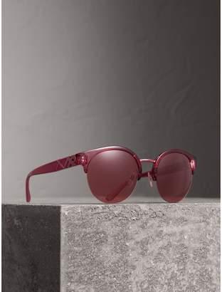 Burberry Check Detail Round Half-frame Sunglasses