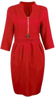 Buckdirect Worldwide Ltd. Elegant Women Solid Three Quarter Sleeve Front Zipper Ruffle Dress