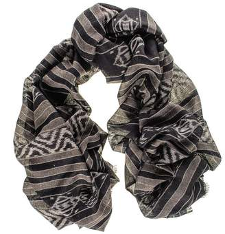 Black and Taupe Ikat Oversize Cashmere Scarf