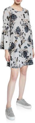 Neiman Marcus Bell-Sleeve Smocked Knit Dress