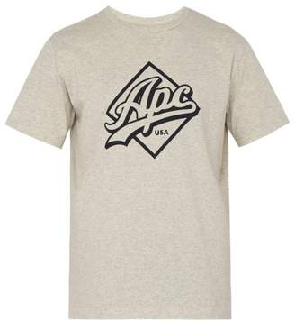 A.P.C. Gabriel Logo Cotton Blend T Shirt - Mens - Grey