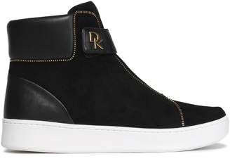 DKNY Leather And Suede High-top Sneakers
