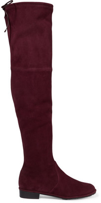 Stuart Weitzman - Lowland Suede Over-the-knee Boots - Burgundy $800 thestylecure.com