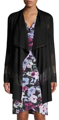 T Tahari Mesh Patchwork Waterfall Cardigan