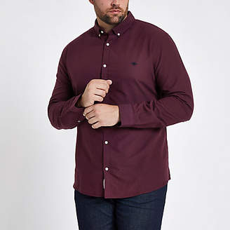 River Island Mens Big and Tall dark Red Oxford shirt