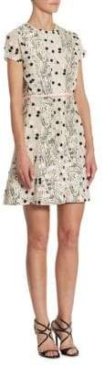 Giambattista Valli Embroidered Panel Fit-&-Flare Dress