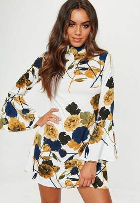 Missguided White Printed Flared Sleeve Dress