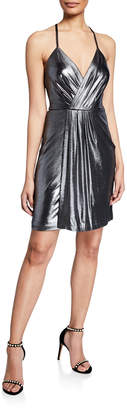 Laundry by Shelli Segal Pleated Metallic Dress