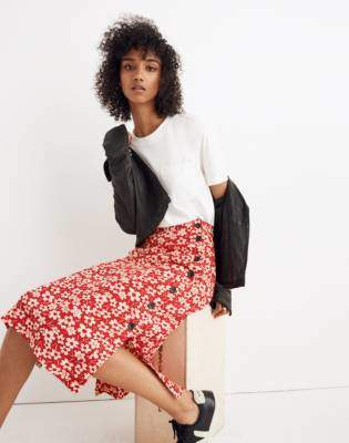 Madewell Side-Button Skirt in Full Bloom