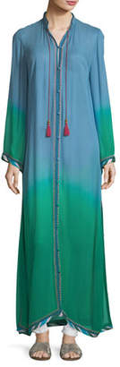 Talitha Collection Fatima Button-Front Long-Sleeve Ombre Robe Caftan