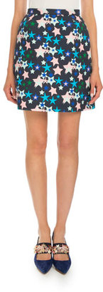 Delpozo Classic Star-Print Skirt, Blue Star $740 thestylecure.com