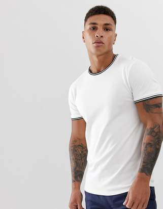Hollister icon logo pique tipped crew neck t-shirt in white