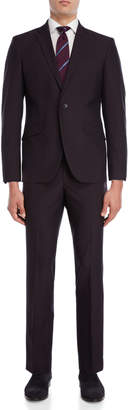 Kenneth Cole Reaction Two-Piece Burgundy Iridescent Solid Suit