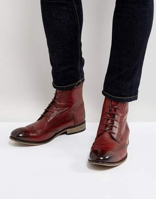 Asos DESIGN Lace Up Brogue Boots In Burgundy Leather With Natural Sole
