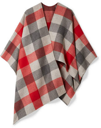 Bottega Veneta Checked Wool And Cashmere-blend Cape - Red