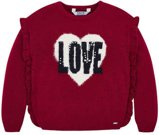 Mayoral Girl's Love Ruffle Trim Sweater, Size 4-7