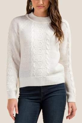 francesca's Halsey Lace Overlay Sweater - Ivory