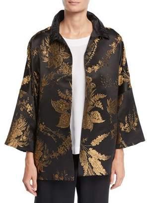 eskandar 3/4-Sleeve Golden Floral-Jacquard Silk Jacket
