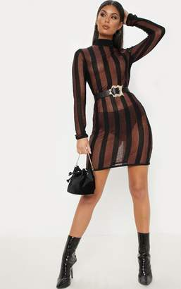 PrettyLittleThing Brown Striped Metallic Fitted Dress