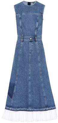Alexander McQueen Poplin-trimmed denim dress