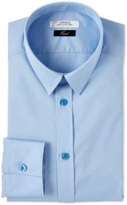 Versace Solid Blue Poplin Dress Shirt