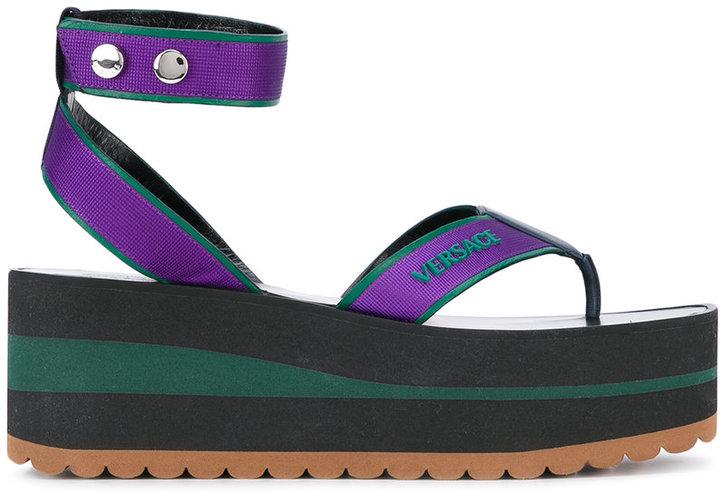 VersaceVersace logo stamp platform sandals