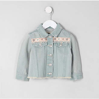 River Island Mini girls Blue embroidery denim jacket