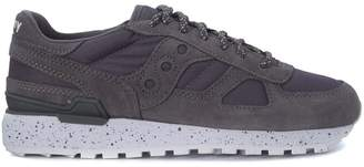 Saucony Shadow Sneaker In Grey Suede And Canvas