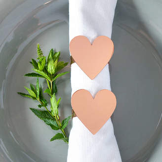 Posh Totty Designs Interiors Rose Gold Or Silver Heart Napkin Rings