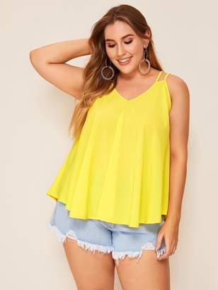 Shein Plus Dip Hem Neon Yellow Cami Top