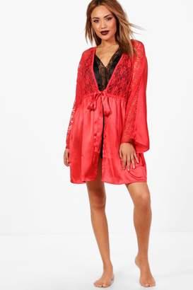 boohoo Summer Lace Short Satin Night Robe