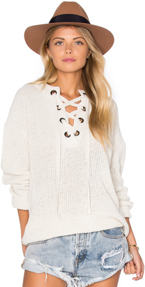J.O.A. Lace Up Sweater $75 thestylecure.com