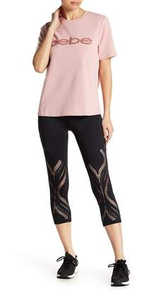 Bebe Lace Panel Cropped Leggings