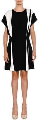 Stella McCartney Crewneck Bicolor Belted Stretch-Cady Short Dress
