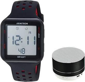 Armitron Unisex Sport 40/8448BKBKST Red Accented Digital Chronograph Black Silicone Strap Watch and Mini Bluetooth Speaker
