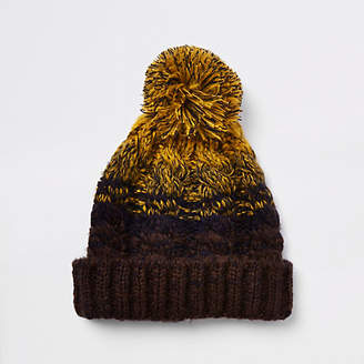 River Island Mustard yellow cable knit bobble beanie hat