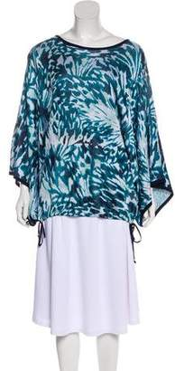 St. John Patterned Kimono Sleeve Top