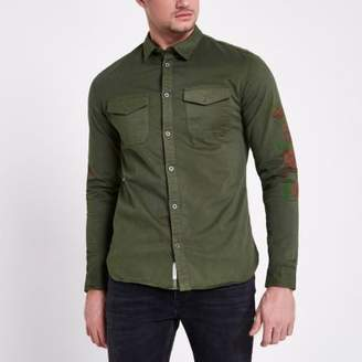 River Island Khaki floral sleeve muscle fit military shirt