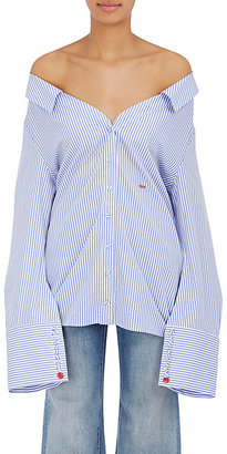 Off-White c/o Virgil Abloh Women's Striped Cotton Off-The-Shoulder Shirt $665 thestylecure.com