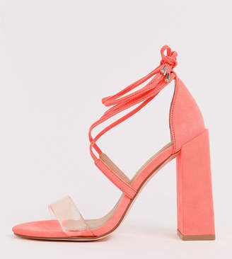 377b84bde8e Barely There Asos Design ASOS DESIGN Wide Fit Hadley block heeled sandals  in neon pink
