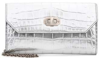 Alexander McQueen Embossed metallic leather clutch