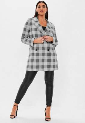 Missguided Plus Size Gray Double Breasted Formal Coat