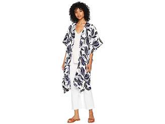 Steve Madden Abstract Floral Print Kimono Women's Clothing