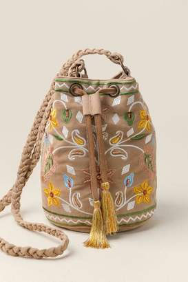 francesca's Lucia Floral Embroidered Bucket Bag - Tan