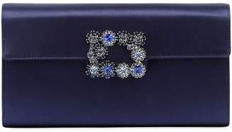 Roger Vivier Envelope Flap Flower Buckle Clutch