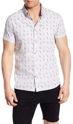 NOIZE Short Sleeve Fashion Chili Pepper Print Trim Fit Shirt